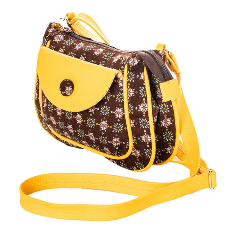 info pour 808f3 00258 petit sac besace bandoulière tissu jaune et marron chocolat