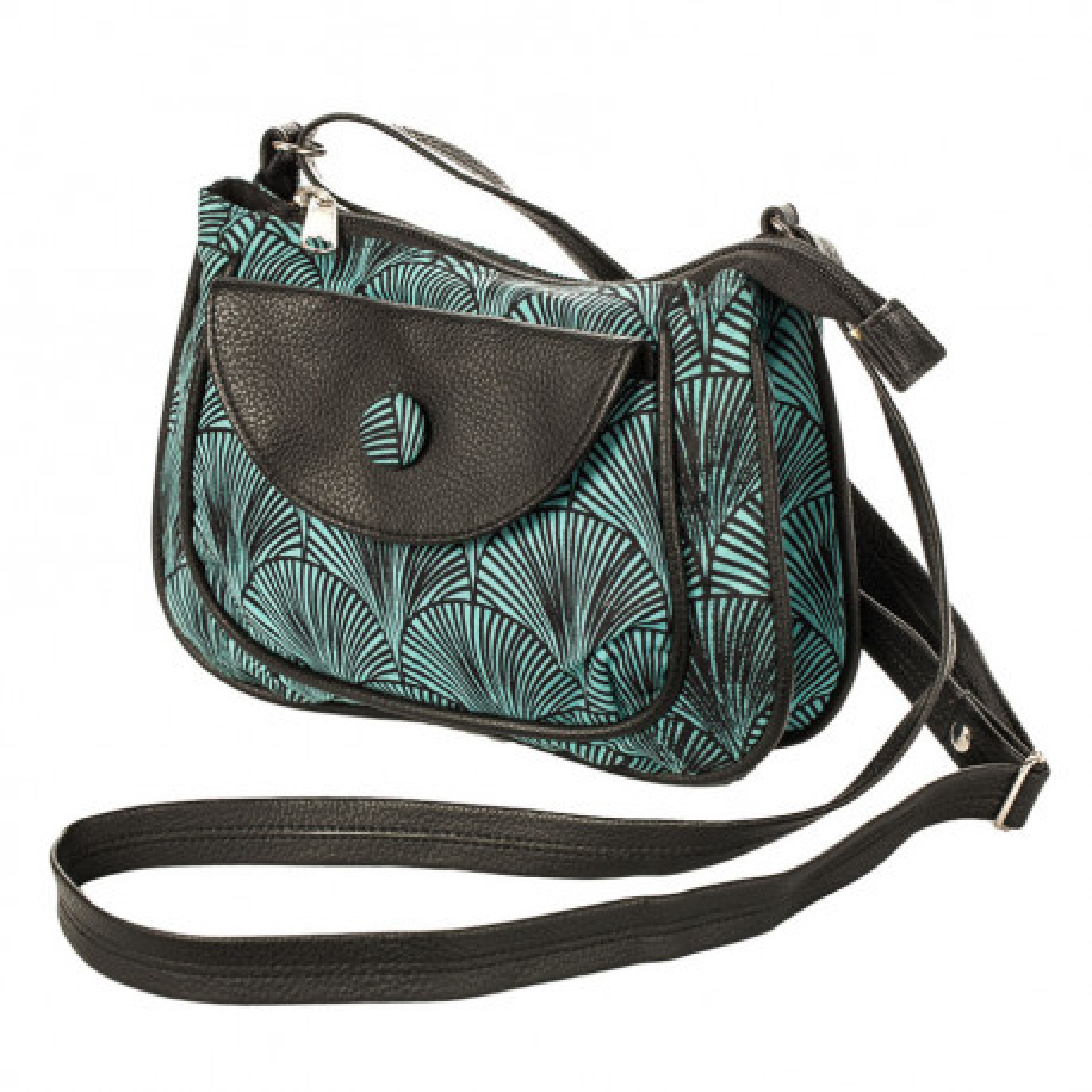 petit sac besace bandoulière tissu vert d'eau et noir