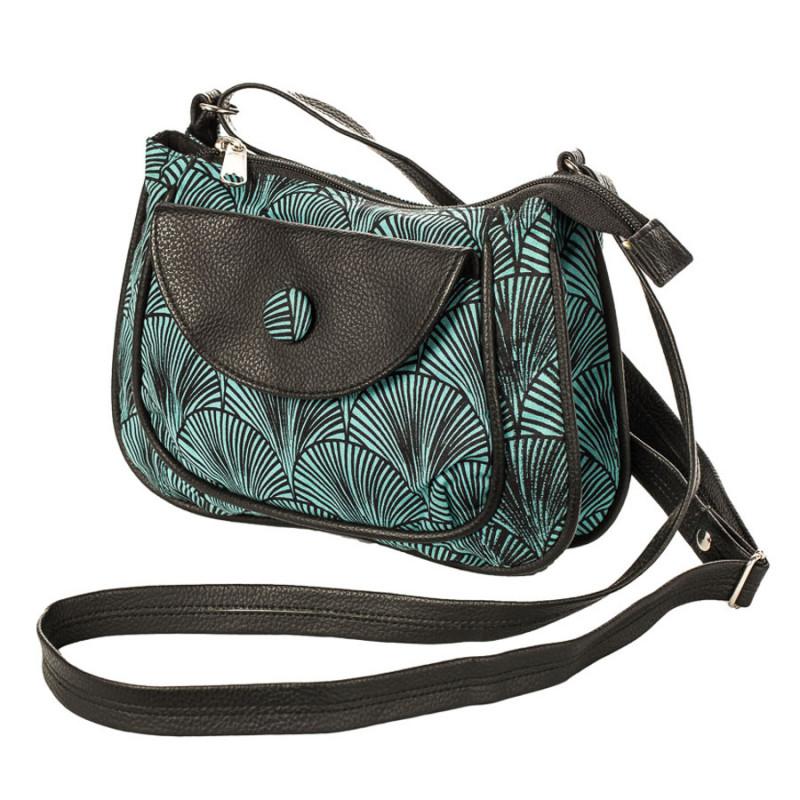c950470579 petit sac besace bandoulière tissu vert d'eau et noir