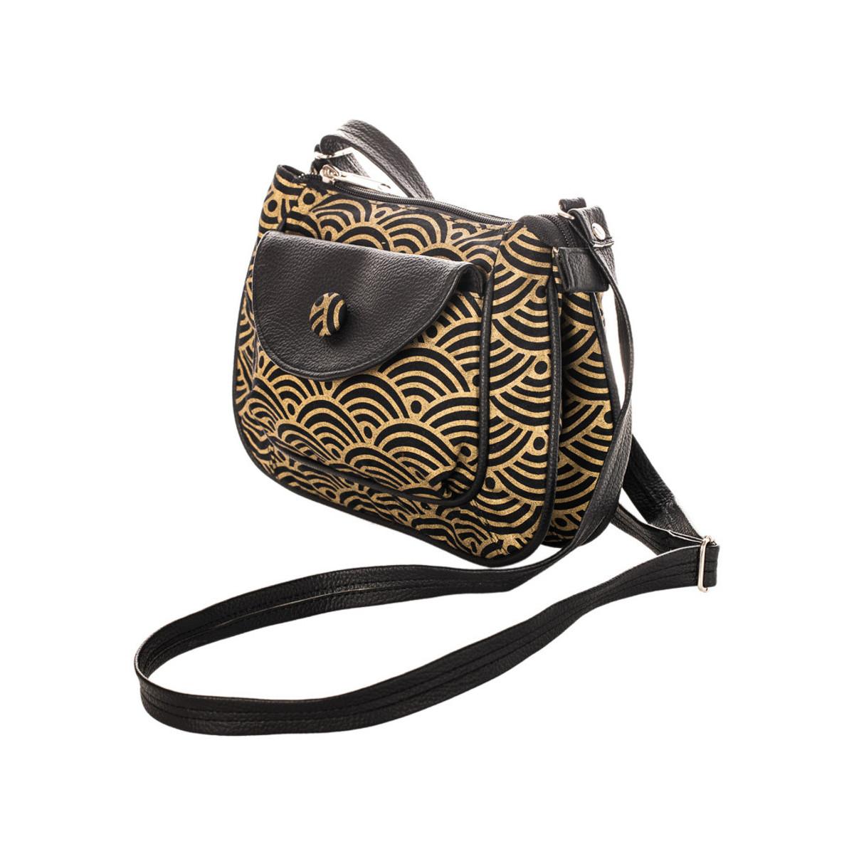 petit sac besace bandoulière tissu noir et or