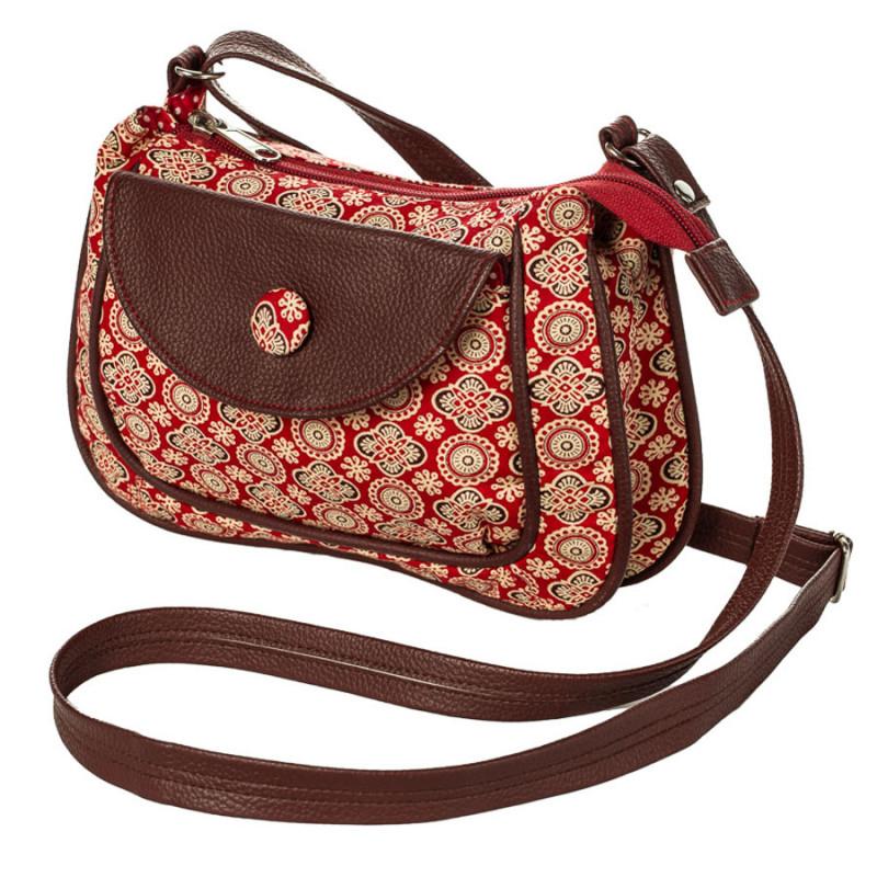 aa94e79e6c petit sac besace bandoulière tissu marron brun et rouge