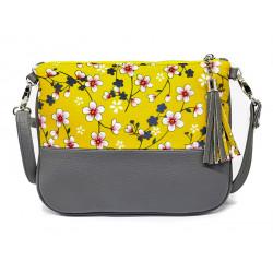 Sac à main pochette femme jaune moutarde et gris à fleurs