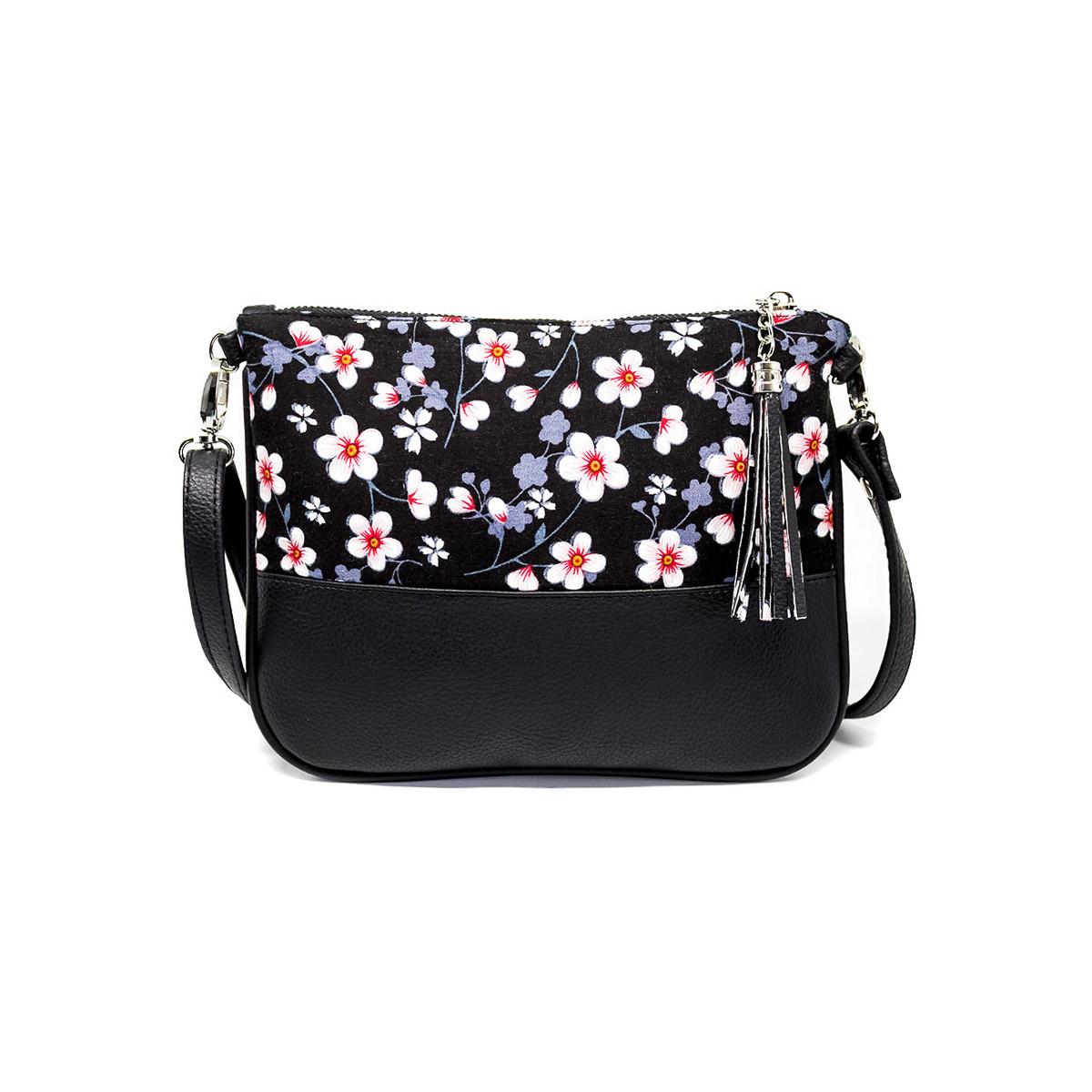 Sac à main pochette femme noir à fleurs