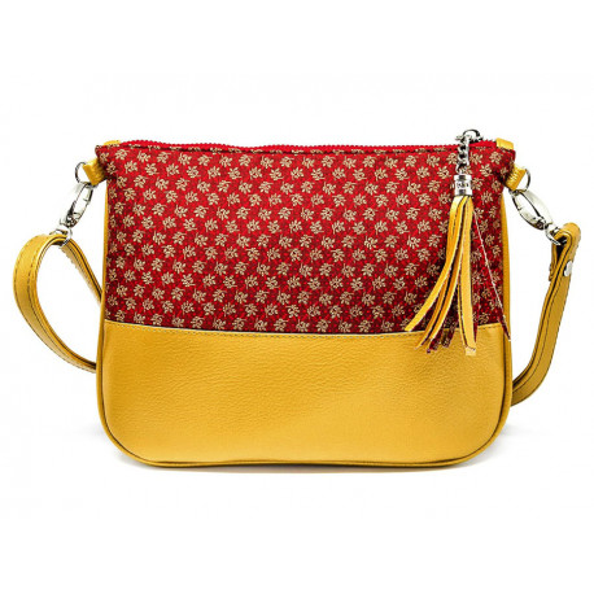 Sac à main pochette femme jaune et rouge carmin
