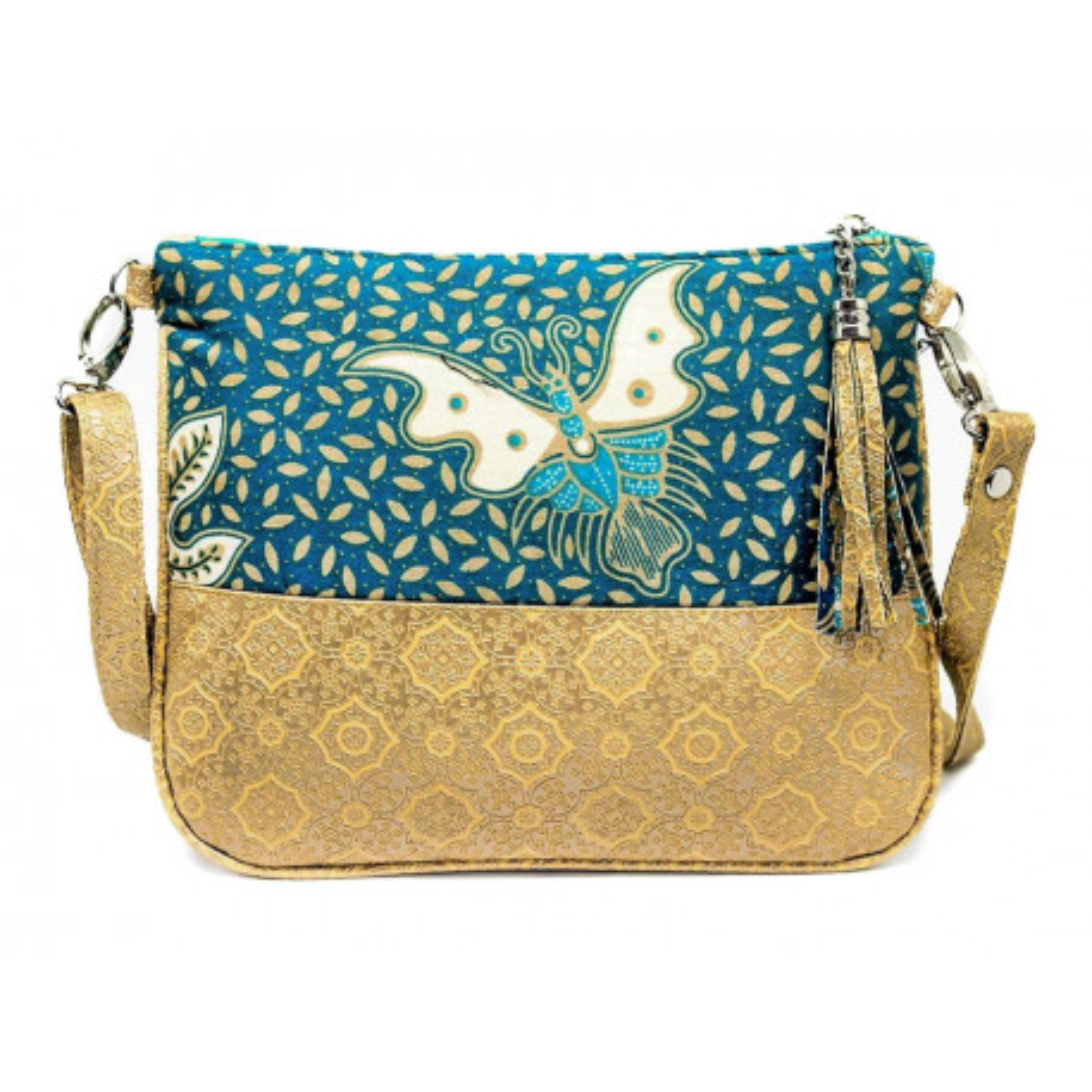 Sac à main pochette femme bleu canard et sable