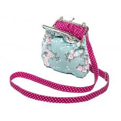 Petit sac rétro à clip vert d'eau et framboise à fleurs