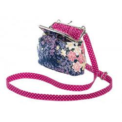 Petit sac rétro à clip coton fleurs mauve