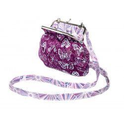 Petit sac rétro à clip coton papillons violets