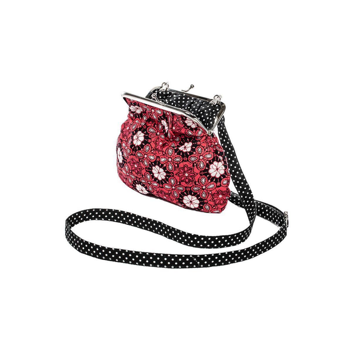 Petit sac rétro à clip coton rose framboise et noir à pois