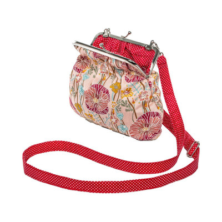 Petit sac rétro à clip coton rose tendre et rouge coquelicot
