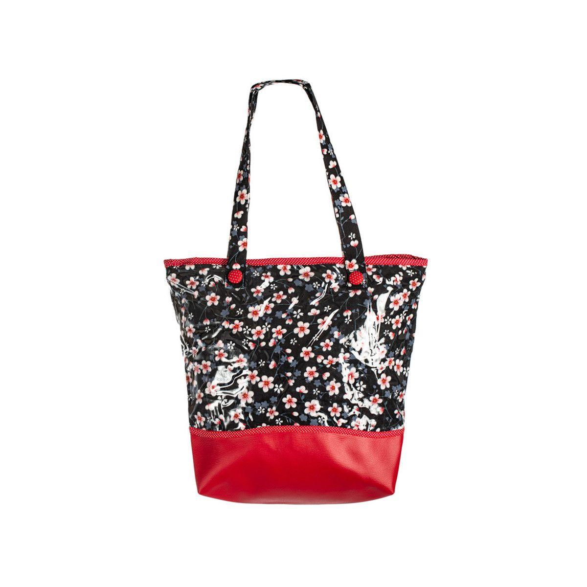 sac-cabas-original-tissu-étanche-rouge-et-noir-à-fleurs