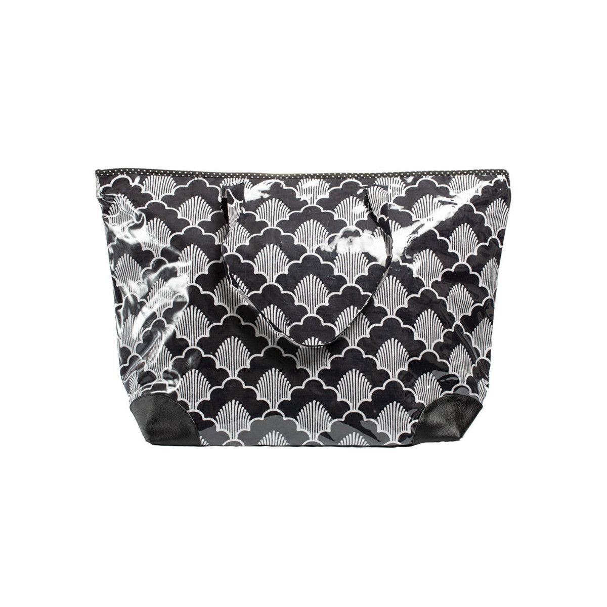 Grand sac cabas étanche tissu noir et blanc