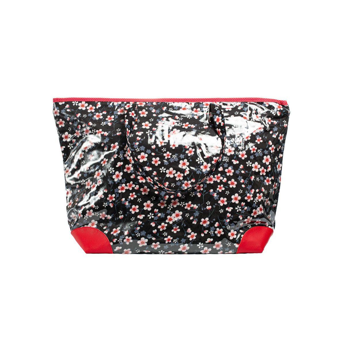 Grand sac cabas étanche tissu rouge et noir à fleurs