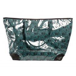 Grand sac cabas étanche tissu vert d'eau et bleu
