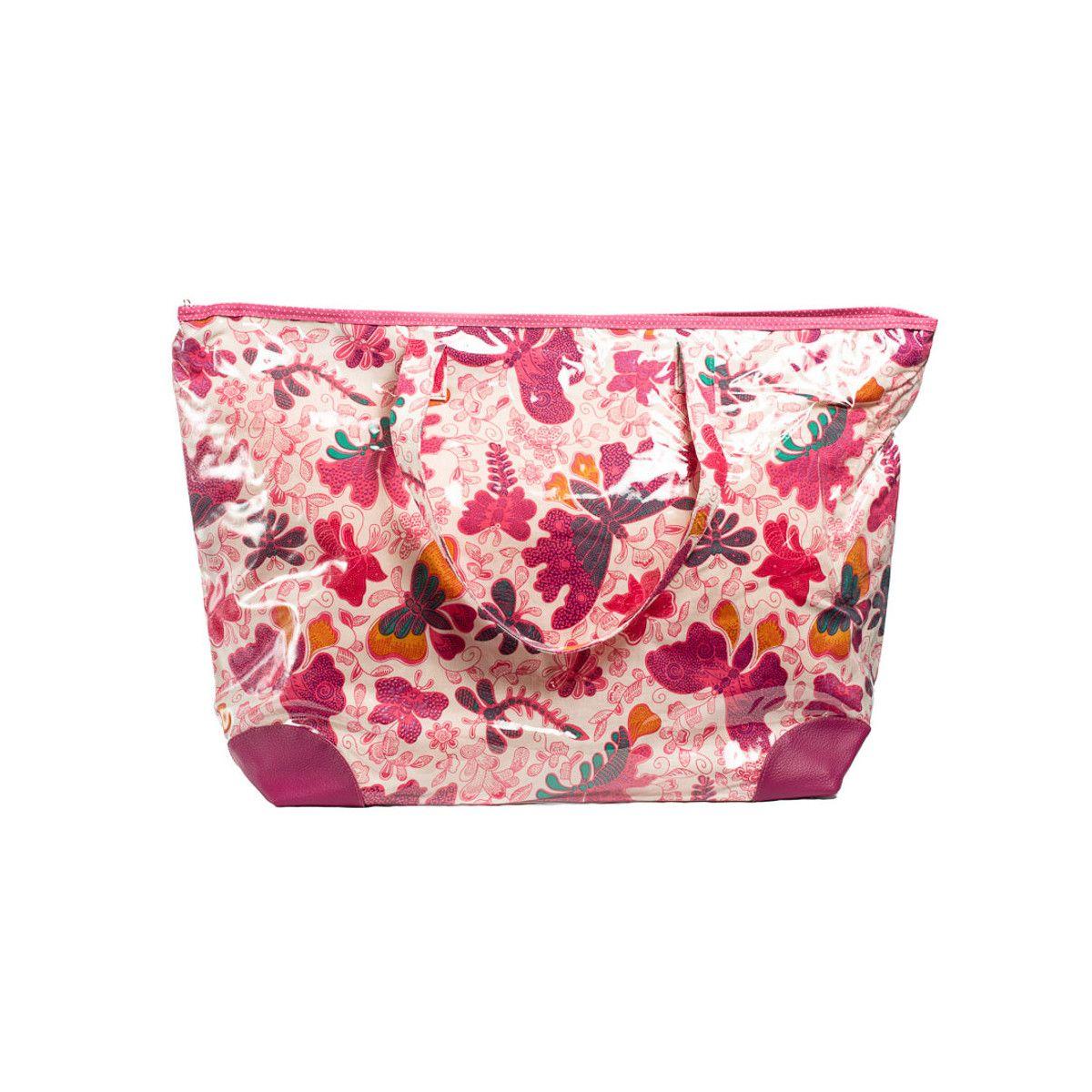 Grand sac cabas étanche tissu papillons roses