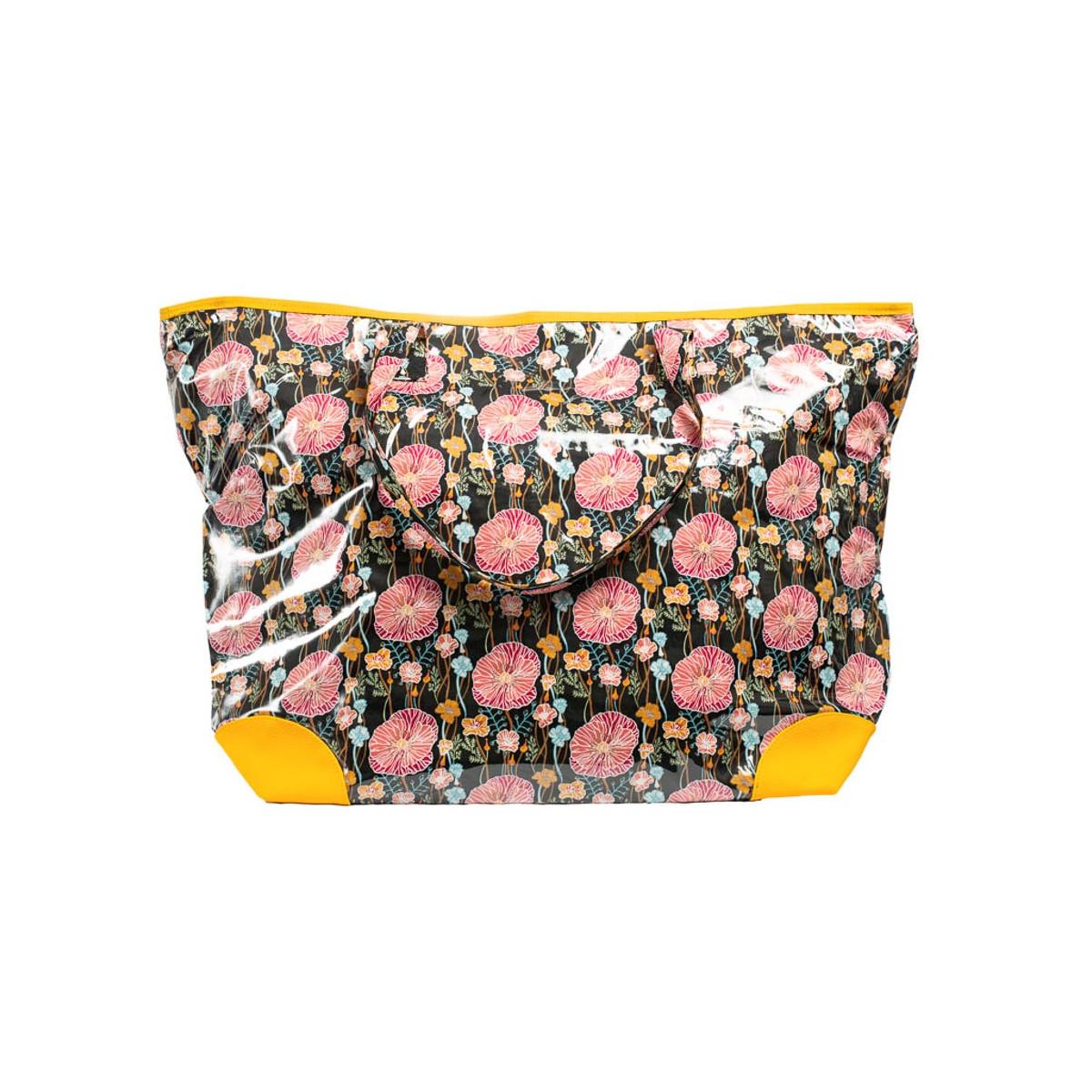 Grand sac cabas étanche tissu noir et jaune avec coquelicot