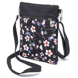 Pochette de voyage bandoulière tissu noir et fleurs