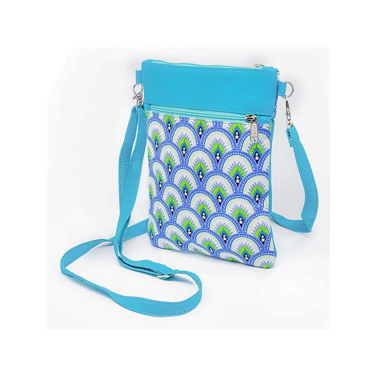 Pochette de voyage bandoulière tissu bleu