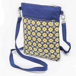 Pochette de voyage bandoulière tissu jaune et bleu