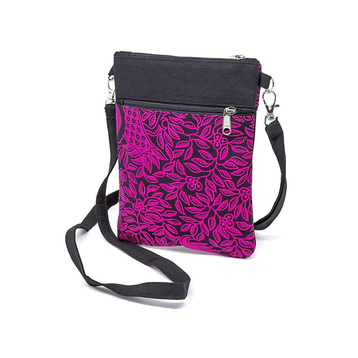Pochette de voyage bandoulière tissu rose et noir