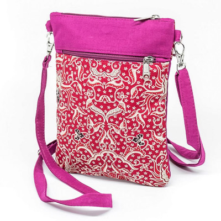 Pochette de voyage bandoulière tissu rose et rouge