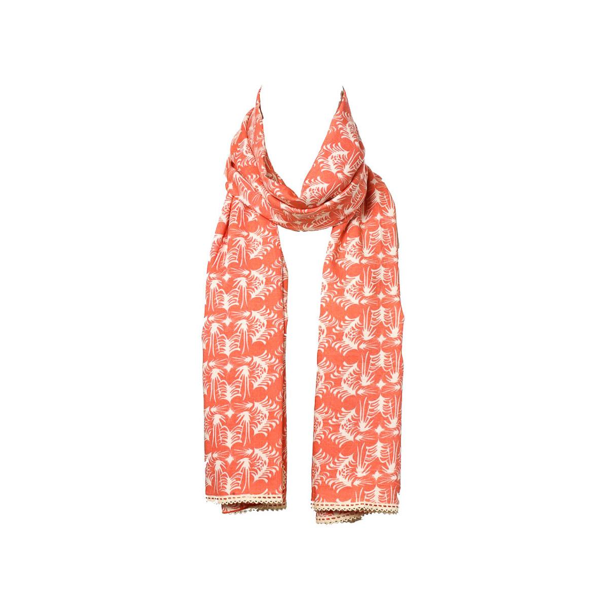 Chèche foulard femme coton orange et blanc