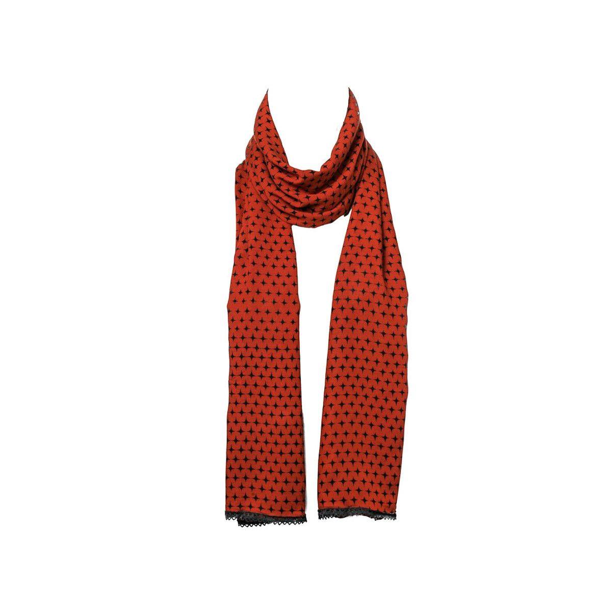 Chèche foulard femme coton marron ocre et noir