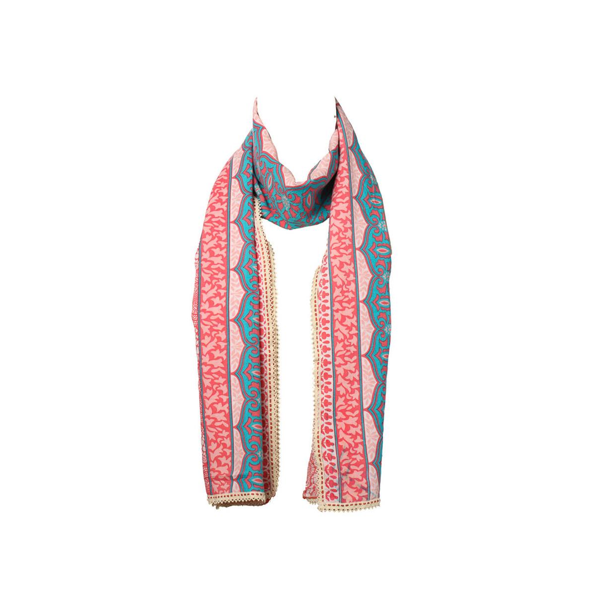 Chèche foulard femme coton rose rouge et bleu