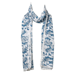 Chèche foulard femme coton bleu et blanc