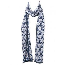 Chèche foulard femme coton bleu à fleurs blanches