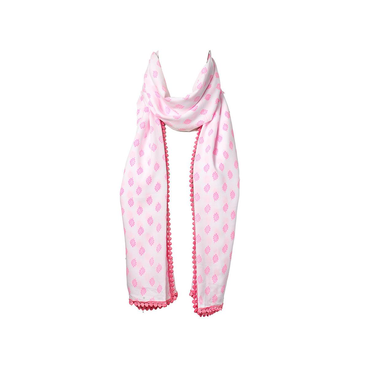 Chèche foulard femme coton blanc et feuilles roses