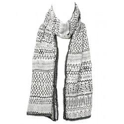 Chèche foulard femme coton noir et blanc