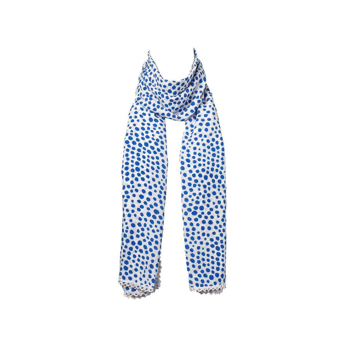 Chèche foulard femme coton blanc à pois bleu