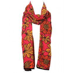 Chèche foulard femme coton orange, rouge, jaune