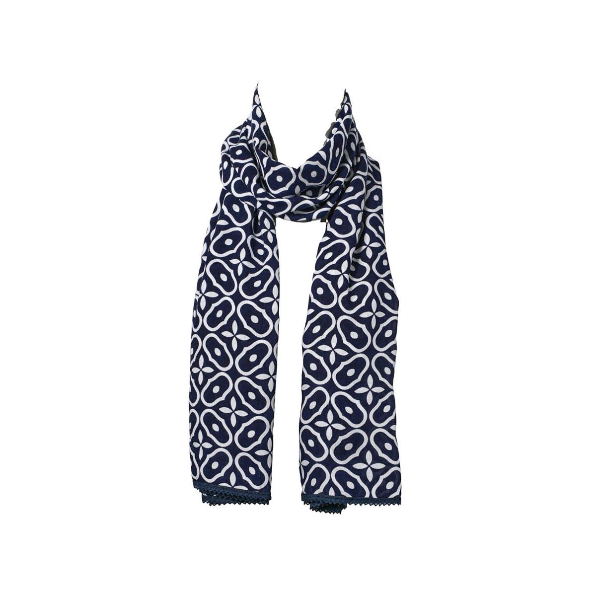 Chèche foulard femme coton bleu nuit et blanc