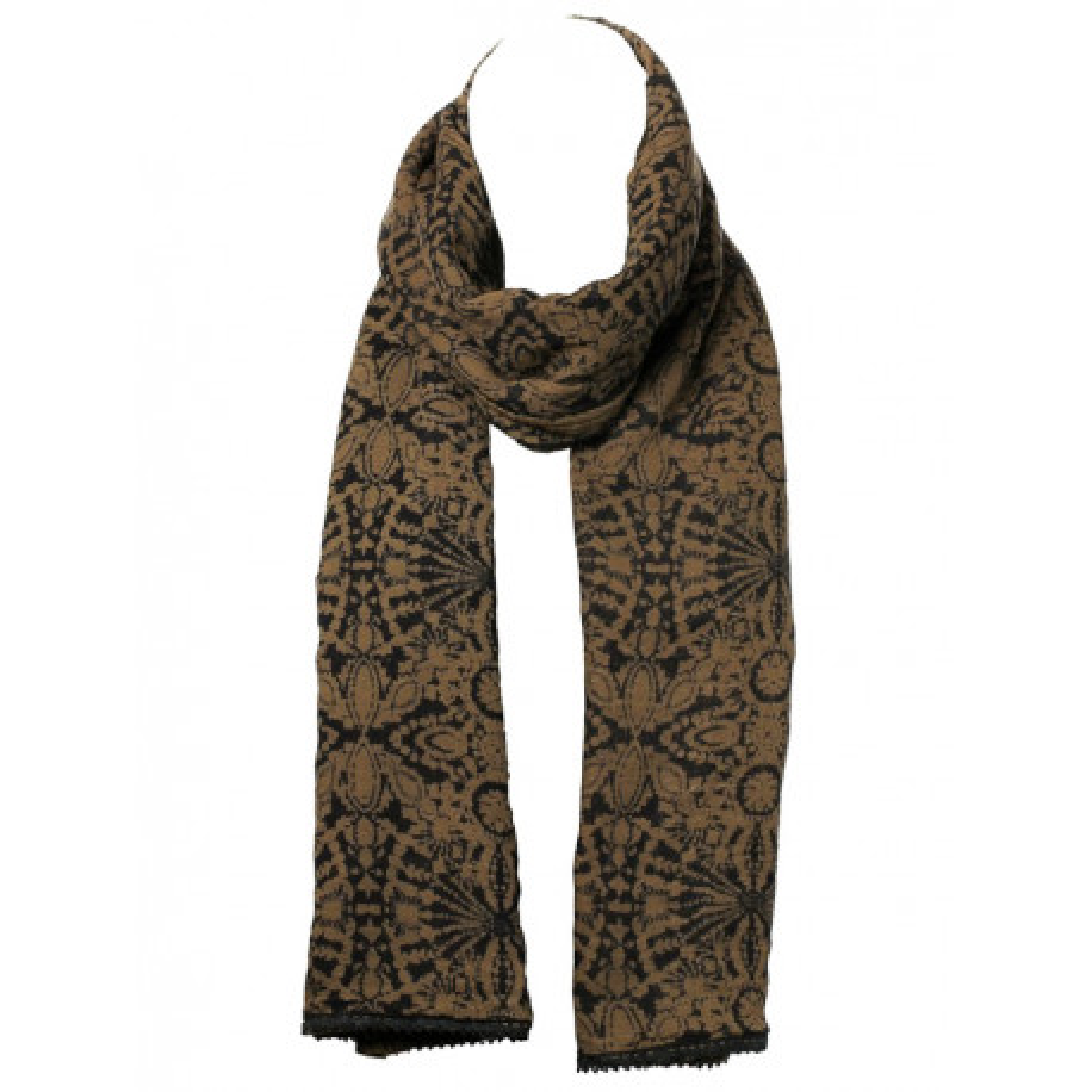 Chèche foulard femme coton café au lait et noir