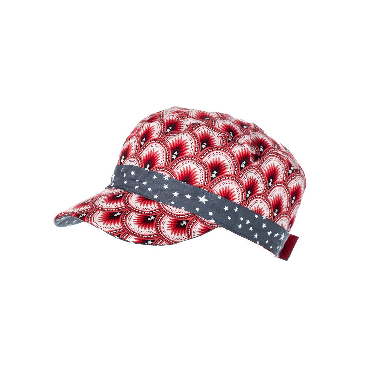 Casquette coton réversible pour enfant 1-8 ans rouge et grise étoiles