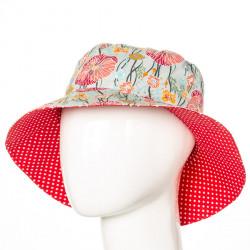 Chapeau coton réversible enfant 1-8 ans bleu clair et coquelicot rouge