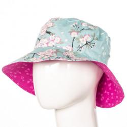 Chapeau coton réversible enfant 1-8 ans rose et bleu clair à fleurs