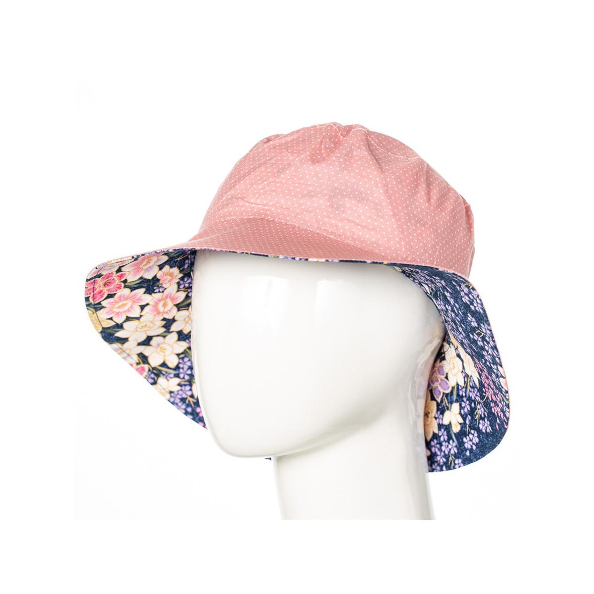 Chapeau coton réversible enfant 1-8 ans rose pâle à pois et mauve à fleurs