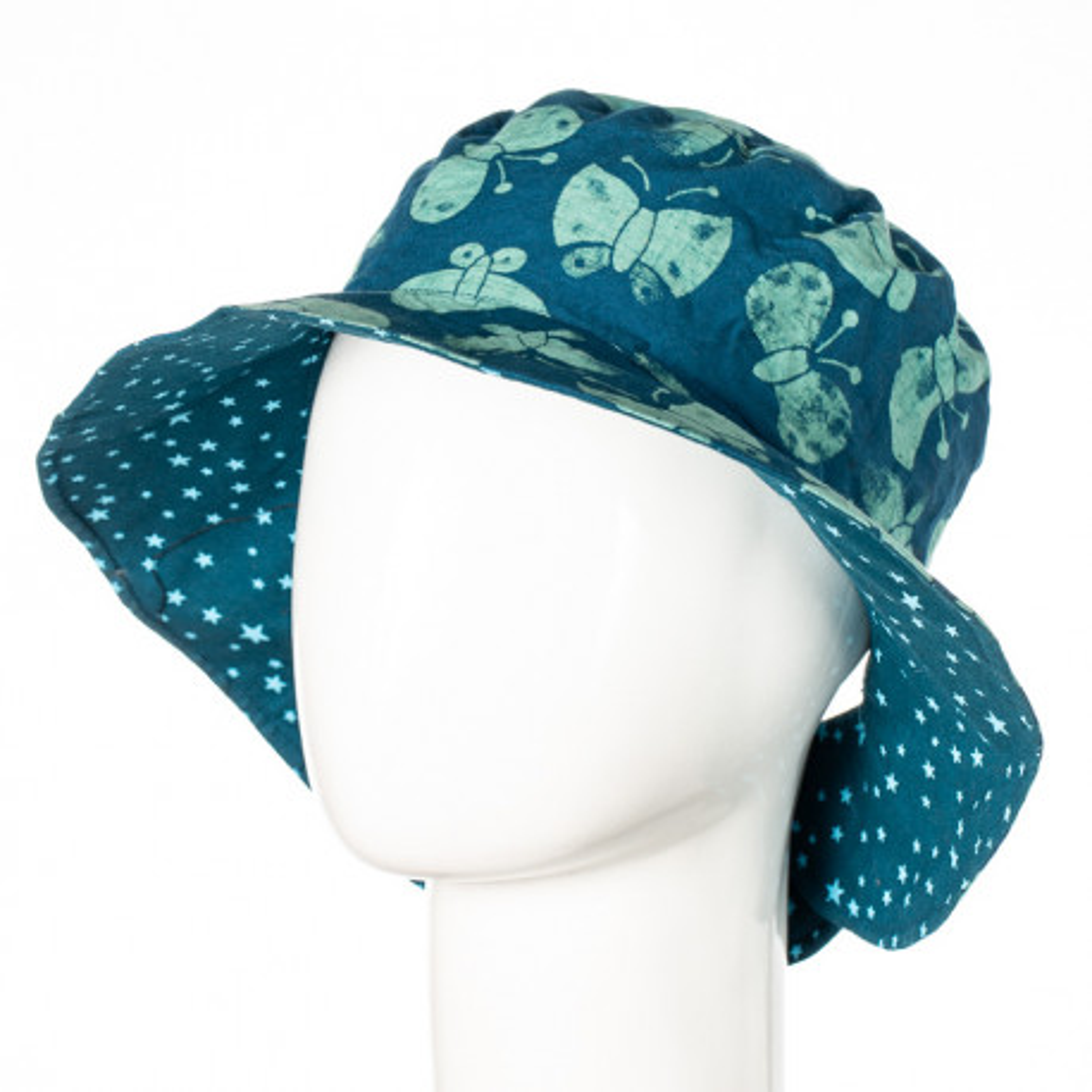 Chapeau coton réversible enfant 1-8 ans bleu avec papillons et étoiles
