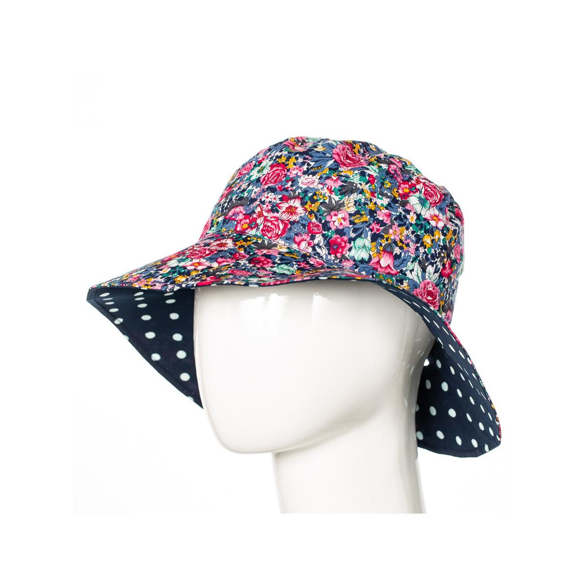 Chapeau coton réversible enfant 1-8 ans bleu à pois et fleurs