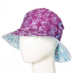 Chapeau coton réversible enfant 1-8 ans bleu clair et papillons