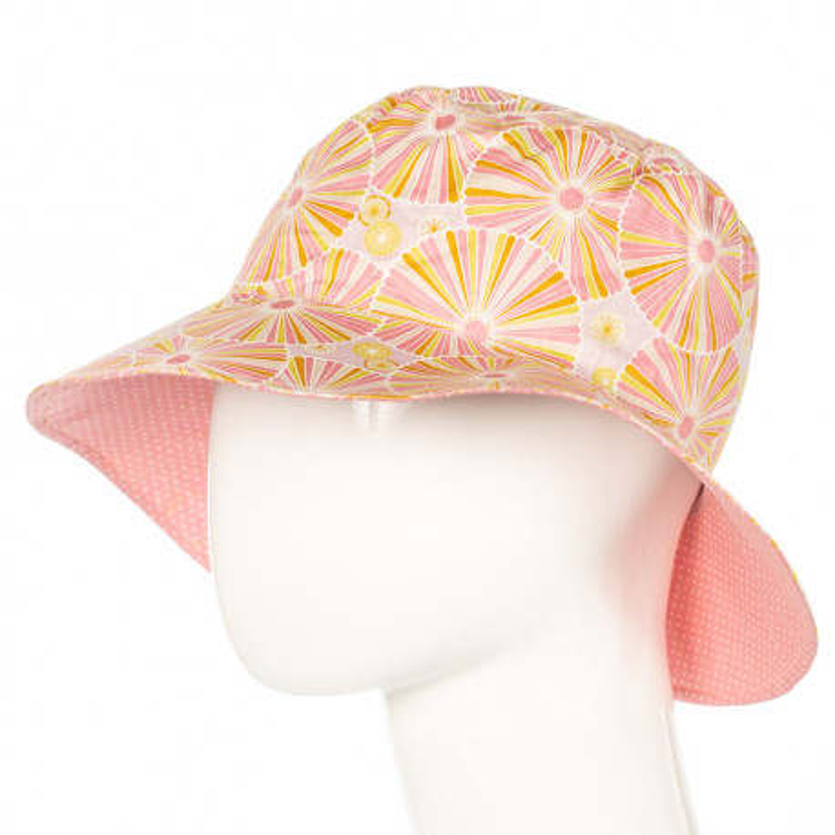 Chapeau coton réversible enfant 1-8 ans rose tendre