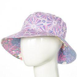 Chapeau coton réversible enfant Rosalie Lilas