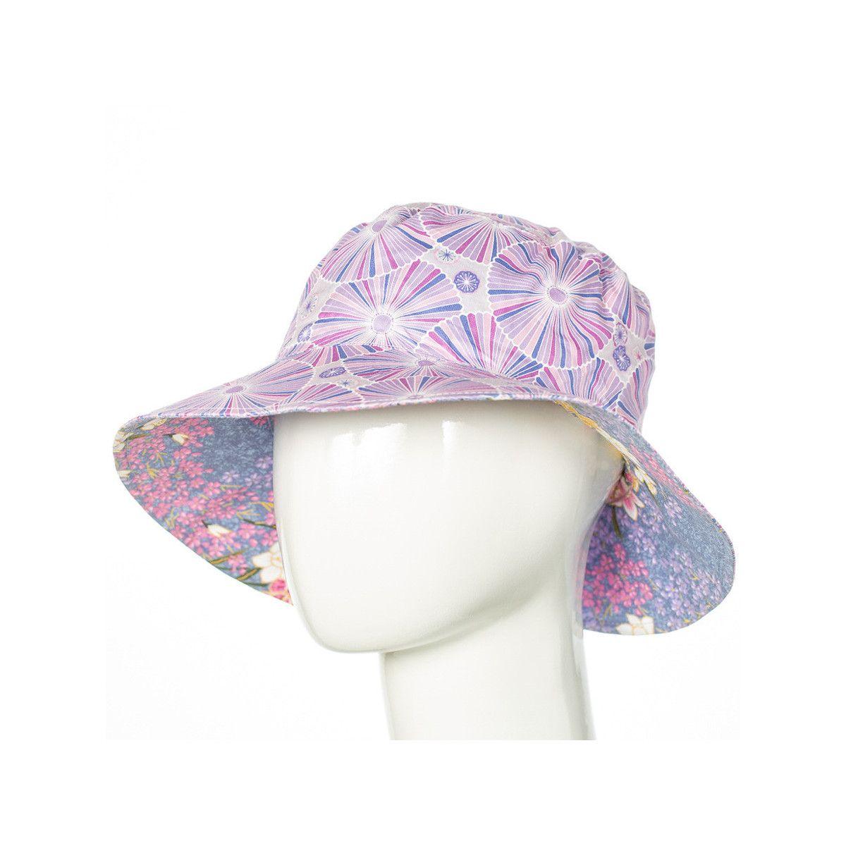 Chapeau coton réversible enfant 1-8 ans violet parme