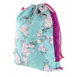 Sac baluchon enfant coton rose et bleu clair à fleurs