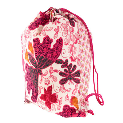 Sac baluchon enfant coton papillons roses