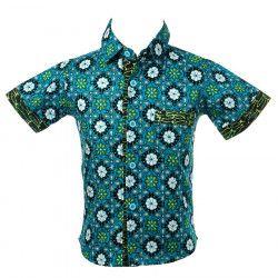 Chemise coton manches courtes garçon 2-10 ans bleu et noir