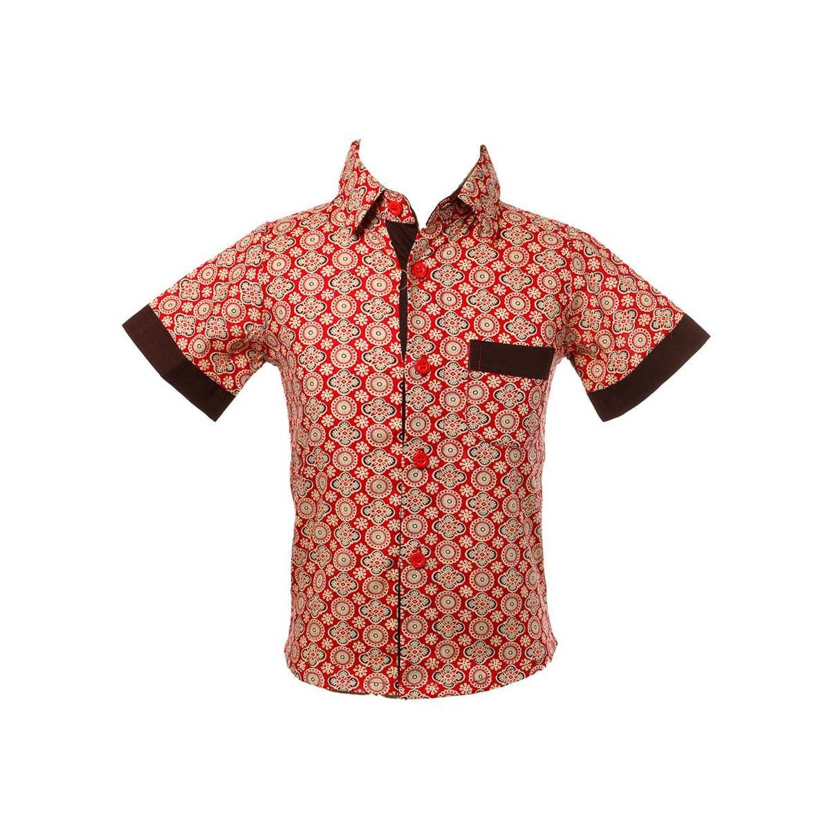 Chemise coton manches courtes garçon 2-10 ans rouge carmin